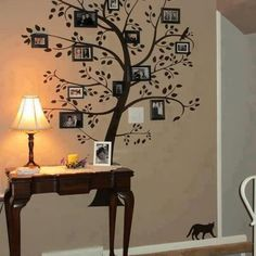 wall decor, family trees, family photos, wall decals, tree houses, famili tree, family tree wall, hallway, wall photos