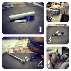 Scarlett Designer Jewelry Symposium: Jewelry Making Process - Amethyst Bezel Stud Earrings
