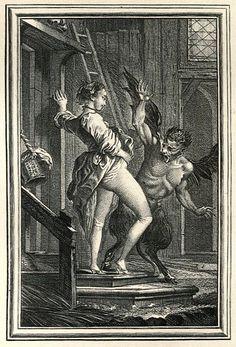 """Grabado de Charles Eisen para el relato """"El diablo de la Isla Papa-Fig"""" de Jean de la Fontaine, 1896. http://iglesiadesatan.com/"""