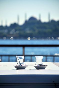 Turkish tea on the Bosphorus, in front of Sultanahmet Mosque, Istanbul.