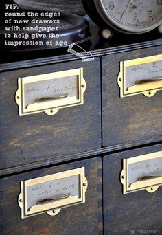 This DIY from the Painted Hive is a brilliant IKEA hack! Kristine started with the Moppe drawers and ended with something that looks like a family heirloom. Weekend project anyone?
