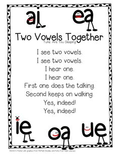 "Song, ""Two Vowels Together"" (Tune: ""Are You Sleeping?""; from Learning With Mrs. Parker) pre-k songs, classroom, school, literaci, long vowel, read, phonic song, learning, kindergarten"