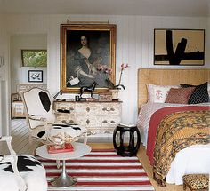 mismatched, eclectic bedroom with antiques
