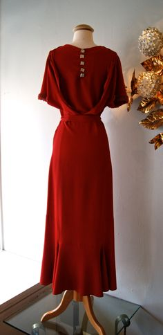 ~vintage dress / vintage 1930s dress~   back view / love the draping!