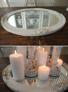 TRAYS :: Repurpose a smaller wall mirror as a tray... | #dustylu