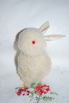 Vintage Steiff  Bunny. This is the larger woolen pom pom Steiff bunny, a highly sought after collectible today.