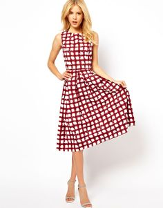 ASOS Skater Dress In Check Print