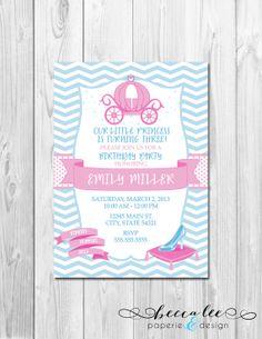 Cinderella Inspired Birthday Party Invitation - Pink and Blue - DIY - Printable