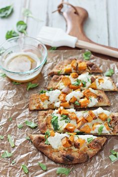 Roasted Sweet Potato Ricotta Brown Butter Flatbread with Spinach, Mozzarella and Garlic