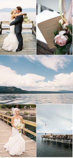 pretty lake tahoe wedding.. love the dress & the veil