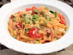 Delicious dinner & just one pot to wash: Linguine With Zucchini, Tomato, and Crab #recipe