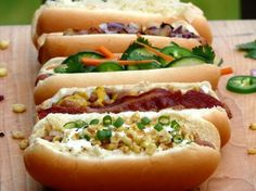 Hot Dog Bar ~ Hot Dogs Five Ways...yum! (minus the one with cilantro).
