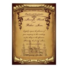 This beautiful and elegant design, called Once Upon a Time Wedding, has a beautiful gold background with darker edges. There is a scroll style inset for your text and a faded fairy tale castle graphic at the bottom. At the top there is a banner for your names. This design would be perfect for a fairy tale inspired wedding. Incredibly elegant and fit for a royal.