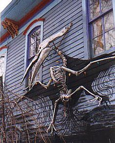 Pterodactyl mounted on the outside of Ravens Grinn Inn in Illinois.