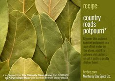 Country Roads potpourri recipe ~ 2 cups dried apple slices; 1 cup each bay leaves and sage; ½ cup each chopped; unpeeled ginger root and whole cloves; 8 1-inch cinnamon sticks