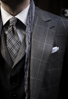 Gray. Three piece suit Window pane