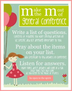 conference handout for girls. attached to a fun size bag of m printable version found on pinterest