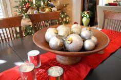 ornament centerpiec, happi holiday, silver ornament