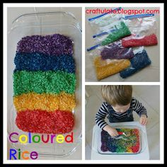 rainbow rice sensory play