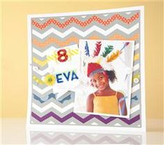 Celebrate in a rainbow of color with this fun chevron layout!