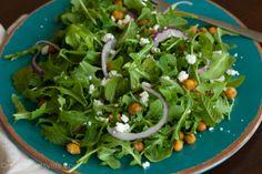 Simple arugula salad with crispy chickpeas. Light and vegetarian friendly!