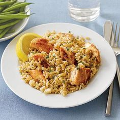 Our favorite slow-cooker recipes: Lemony Chicken Breasts with Rice, a hearty one-dish meal that starts out in the skillet and finishes in your Crock Pot