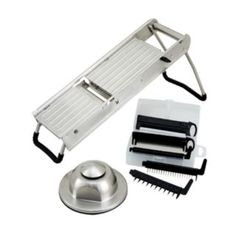 Winco MDL-15 Mandoline Slicer Set W/ Stainless Steel Hand Guard - Fruit & Vegetable Slicer Blades & - Winco - MDL-15