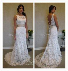 Wholesale Wedding Dresses - Buy Custom 2013 Sheer Lace High Neck Wedding Dress Bateau Neckline Deep V Back Lace Wedding Dresses with Ribbon Bridal Garden Wedding Gowns, $159.0 | DHgate