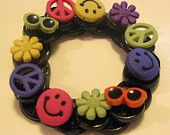 Fun Button Bracelet! #etsy @Karen Brown #stretch bracelet #fun #peace #love #sunshine $6.00