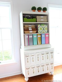 File cabinet re-purpose.  I would love to find some file cabinets just like these.