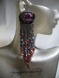 Purple Mardi Gras  Earrings created by Lynn Parpard by LynnParpard, $110.00
