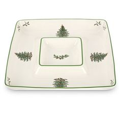 Spode Christmas Tree Chip & Dip Plate In White And Green -