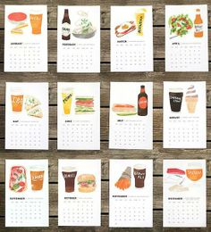 food calendar, foods, food 2014, art, gifts, 2014 calendar, beerfood, design, beer food