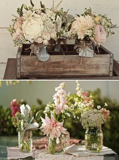 Centerpieces and floral decor, collection of different vases, jars, seasonal fresh flowers.