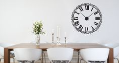 Is your wall a little bare? Do you need a functional yet elegant piece? This Classic Roman Clock decal is the solution you were looking for. It will totally change your space for a very affordable price of $48. This classic design will fit in any interior; like living room, offices, bedroom, hallway, living room or kitchen. It comes in 3 sizes!