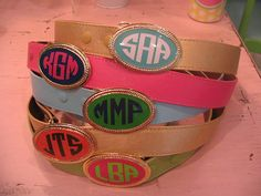 So preppy!!!! Monogrammed Enamel Belt Buckle with Strap by preppypapergirl, $68.00
