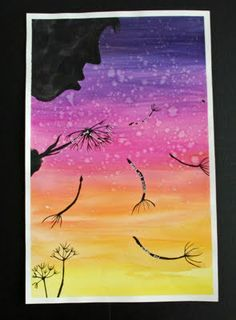 Dandelion wishes - Water color & sharpies