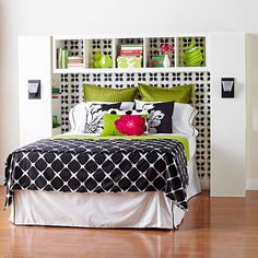 Bedroom storage. Three narrow bookcases: two faces IN towards the bed to take the place of nightstands and then mount the third above facing out. Add sconces to replace table lamps.