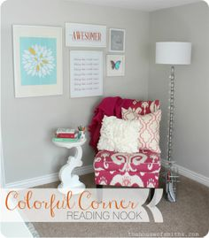 Cozy Corner Reading Nook - The House of Smiths #officedesign #colorfuldecor #houseofsmiths