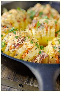 Hasselback Potatoes....with Bacon, Parmesan, Basil, and Garlic dinner, baked potatoes, butter, food, potato salad bacon, hasselback potato, side dish, broths, basil