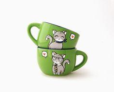 OOAK Cats in love  Espresso cups  His  hand by vitaminaeu, €17.50