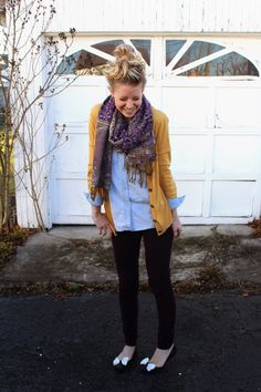 Purple cords + mustard sweater + scarf + bows = my style via Laughing Latte