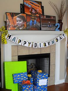 Construction party banner and mantel.