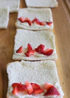 French toast roll ups - for a special treat.Place whatever filling you like inside towards the end of the piece of bread. I love softened cream cheese topped with diced strawberries.