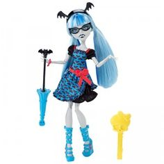 This Ghoulia Yelps is inspired by the fashion stylings of Draculaura in the upcoming Monster High film, Freaky Fusion.