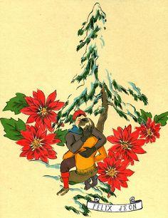 Poinsettia Kisses 2, Male Nude Figure Drawing Fine Art christmas gay card