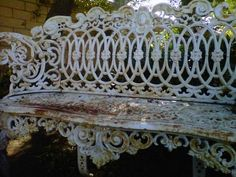 antique iron bench garden