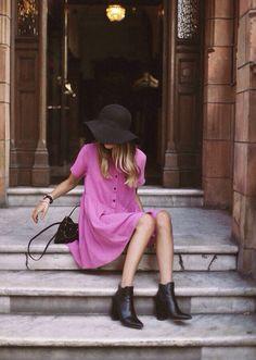 . #fashion #hat #dress #booties