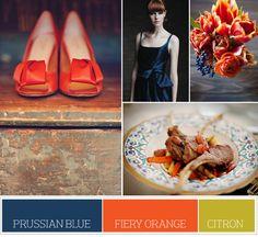 prussian blue, fiery orange & citron