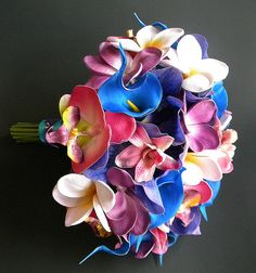 Blue Lagoon Beach Wedding Bouquet with Real Touch Plumerias, Orchids and Calla Lilies